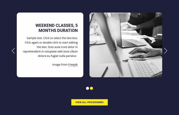 Weekend classes Website Mockup
