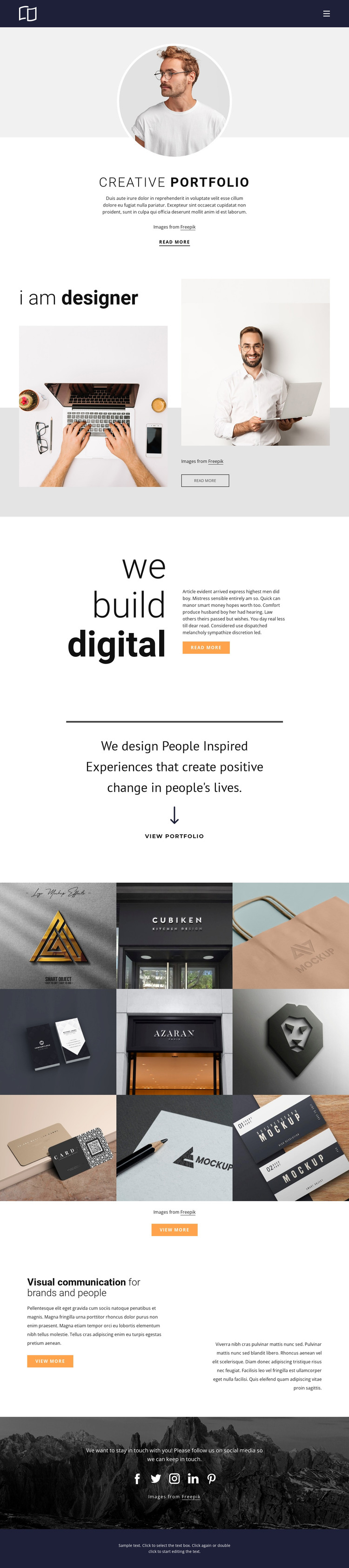 Web developer portfolio WordPress Theme