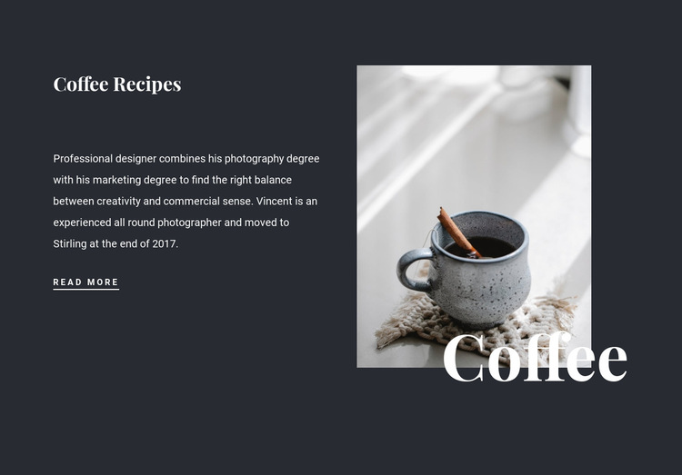 Family coffee recipes HTML5 Template