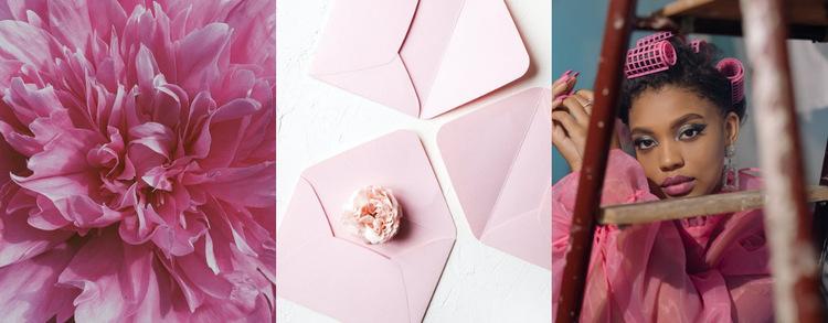 Modny kolor różowy Szablon witryny sieci Web