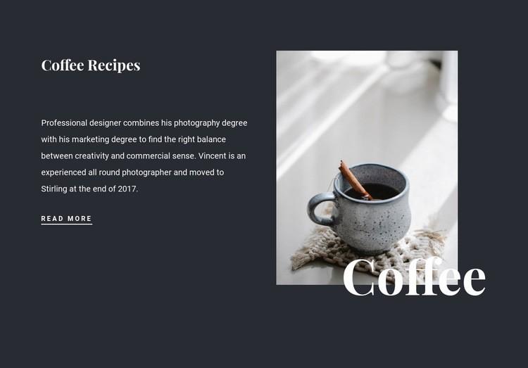 Family coffee recipes Web Page Design