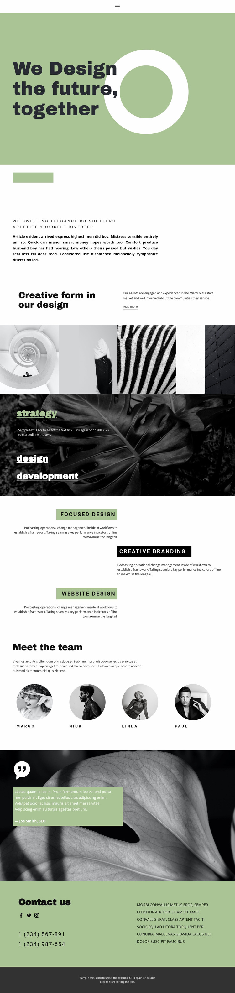 Together we create beauty and style Website Mockup