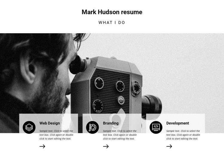 Travel photographer resume Web Page Design