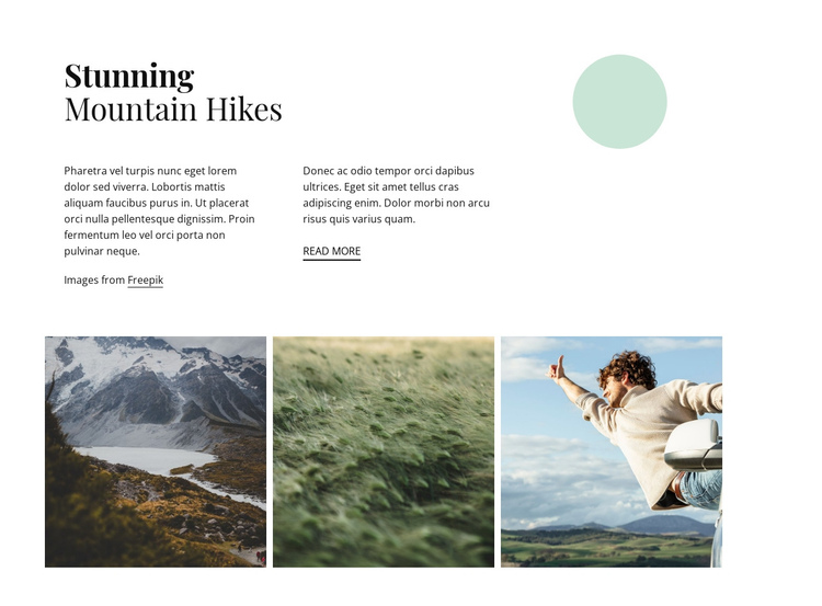 Stunning mountain hikes One Page Template