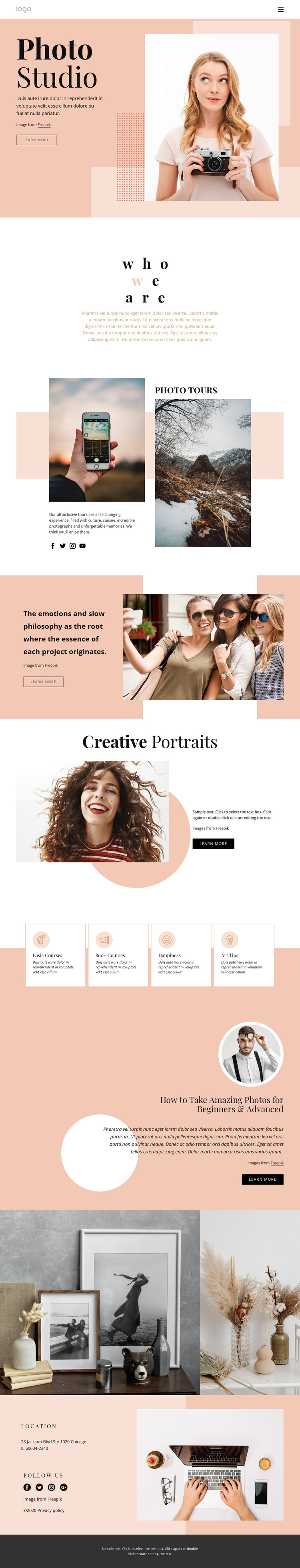 Photography courses One Page Template