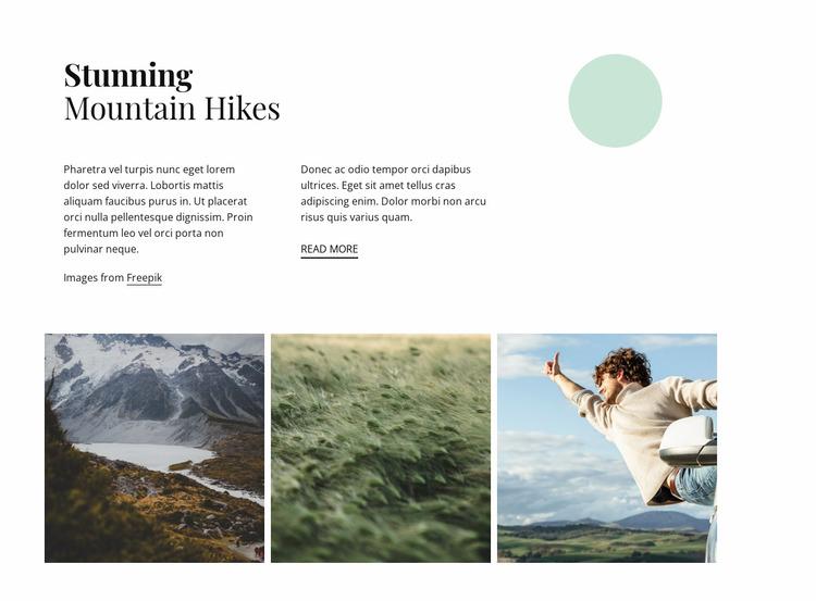 Stunning mountain hikes Website Mockup