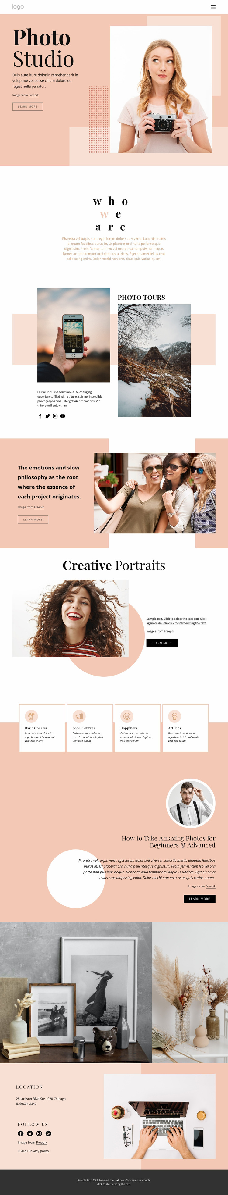 Photography courses Website Mockup