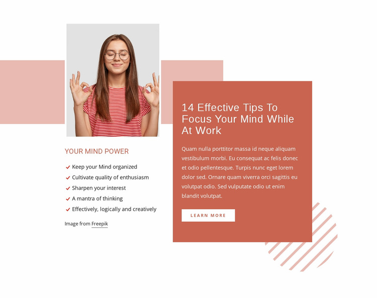 Focus your mind while at work Website Mockup