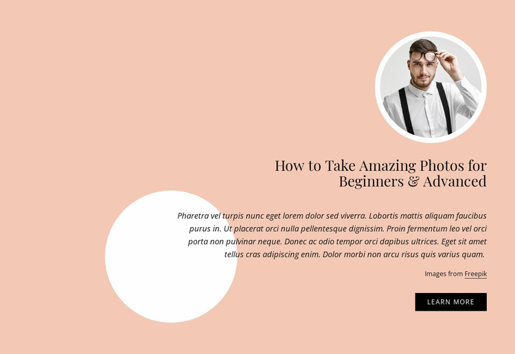 Amazing photos for begginers and advanced Website Mockup