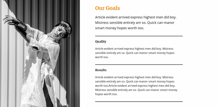 Goals and strategies in the project Website Template