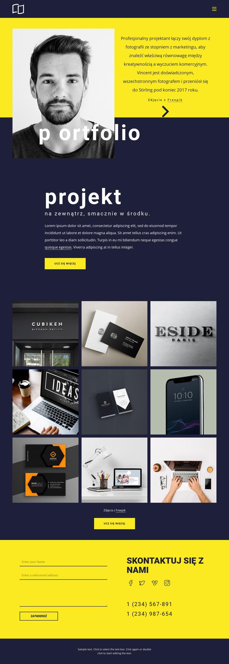 Niesamowite portfolio Szablon witryny sieci Web