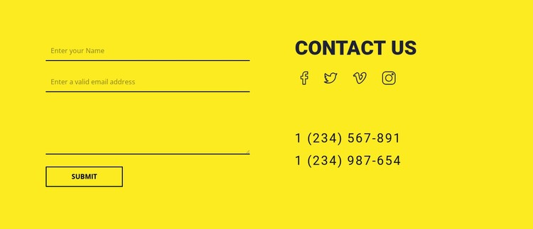 Contact us form on yellow background CSS Template