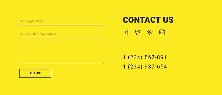 Contact us form on yellow background Homepage Design