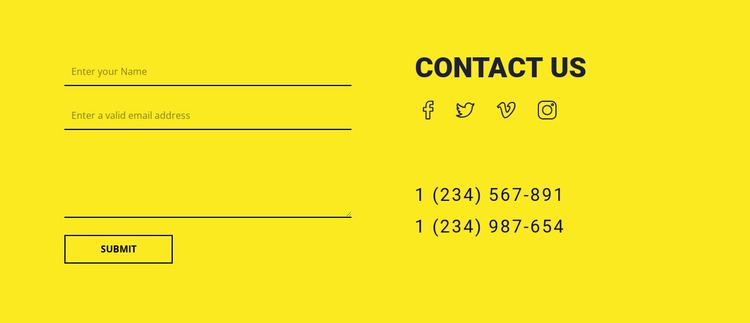 Contact us form on yellow background Html Website Builder