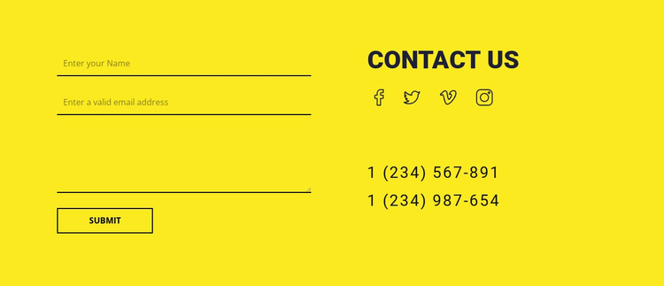 Contact us form on yellow background One Page Template