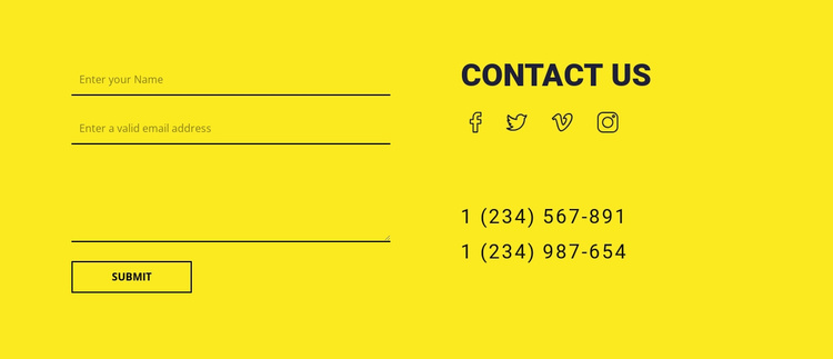Contact us form on yellow background Website Template