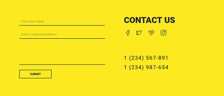 Contact us form on yellow background WordPress Website Builder