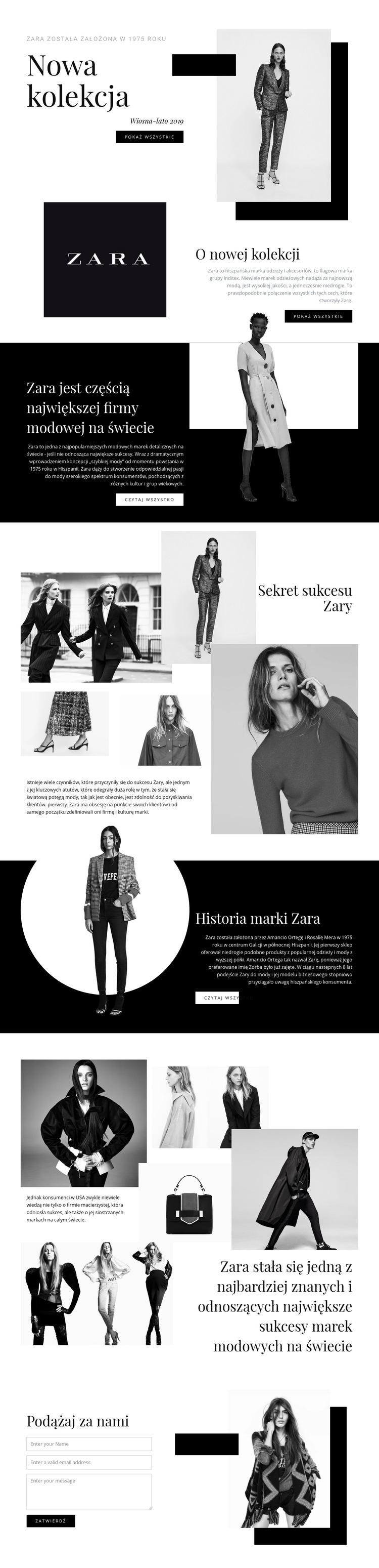 Kolekcja Zara Szablon witryny sieci Web