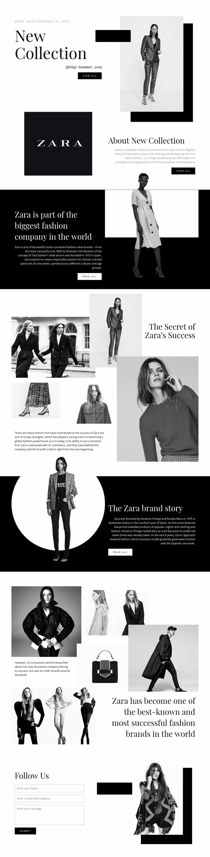 Zara collection Web Page Designer