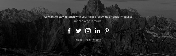 Social icons with dark background Website Mockup