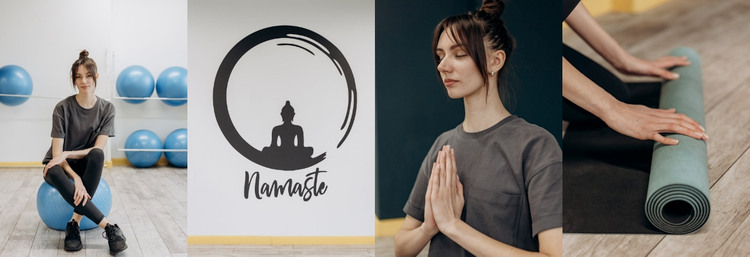 Four photos from the yoga center WordPress Theme