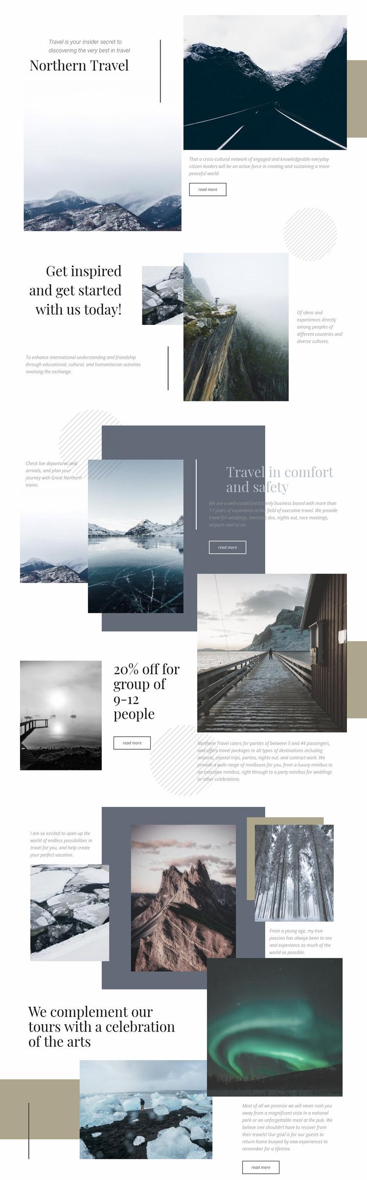 Northern Travel Website Mockup