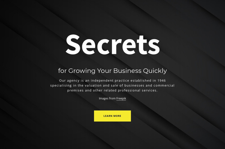 Secrets of growing your business HTML Template