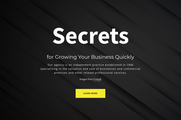 Secrets of growing your business One Page Template