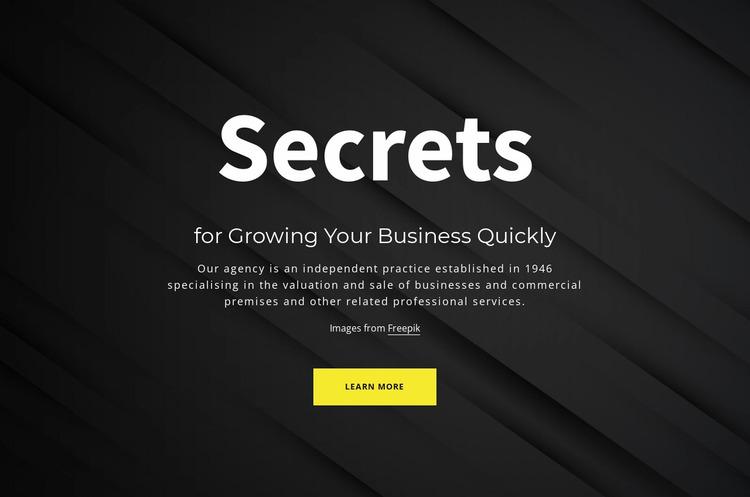Secrets of growing your business Website Mockup