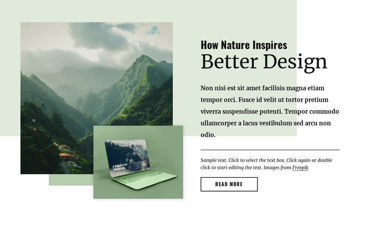 Nature inspires better design Website Mockup