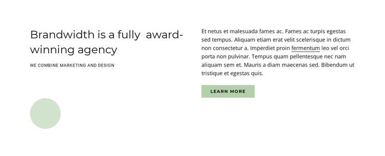 Award winning agency HTML Template