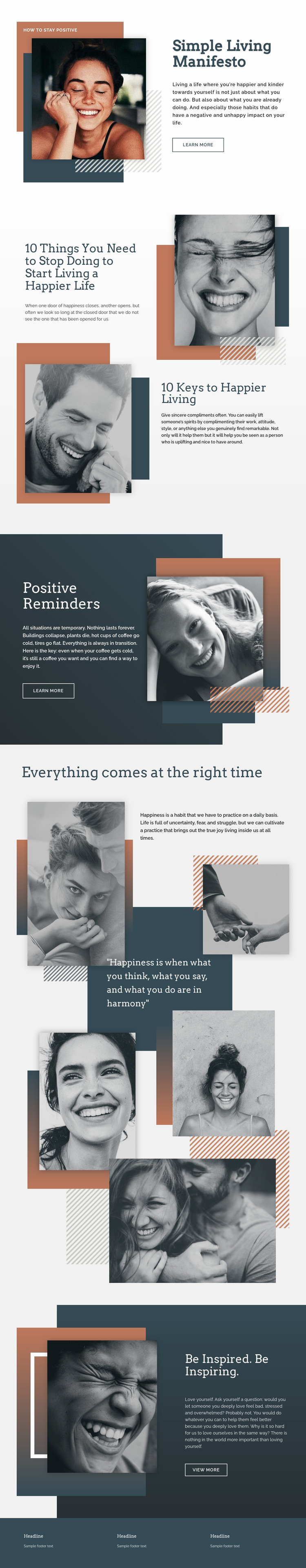 Simple Living Light Web Page Design