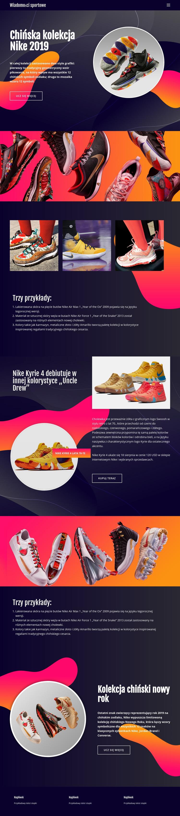Kolekcja Nike Szablon witryny sieci Web