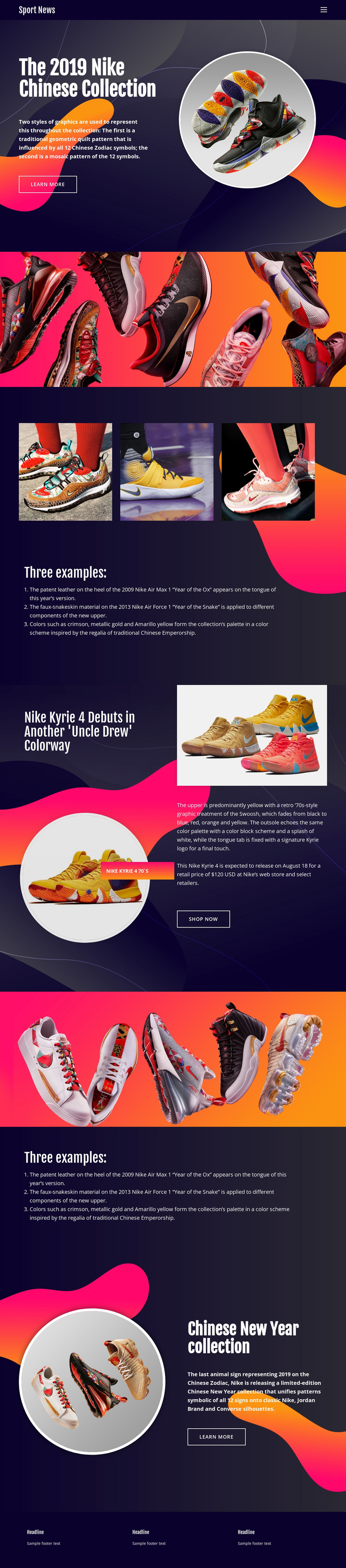 Nike Collection Website Builder Software