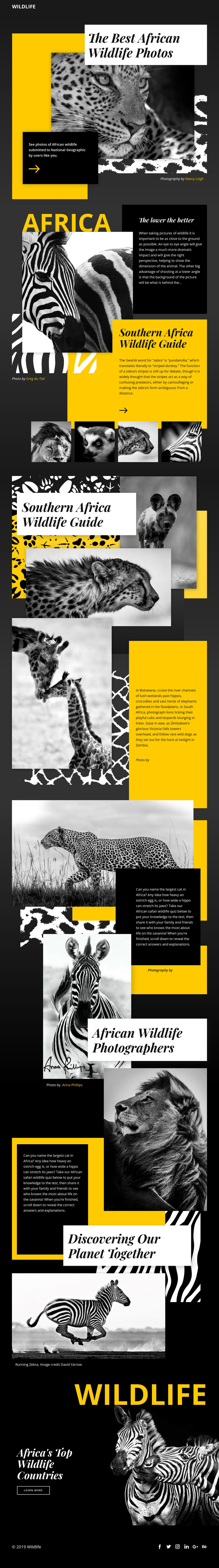 Wildlife Photos HTML5 Template