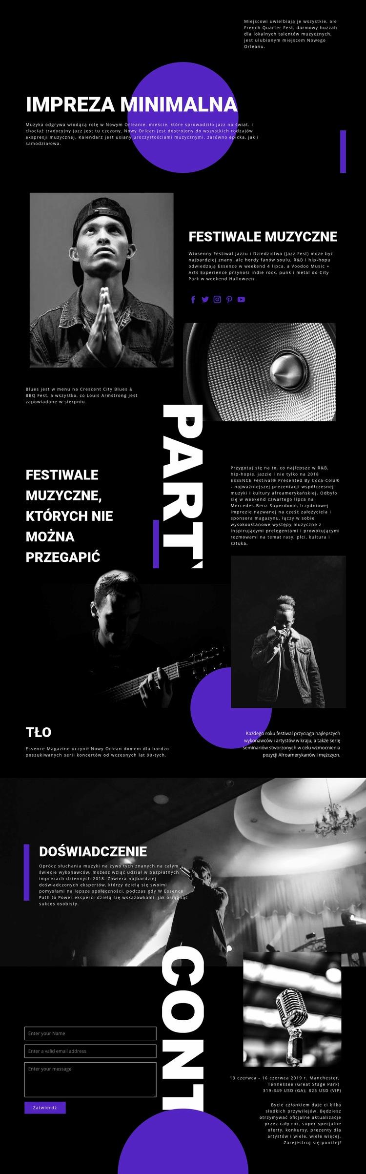 Festiwal Muzyczny Szablon witryny sieci Web