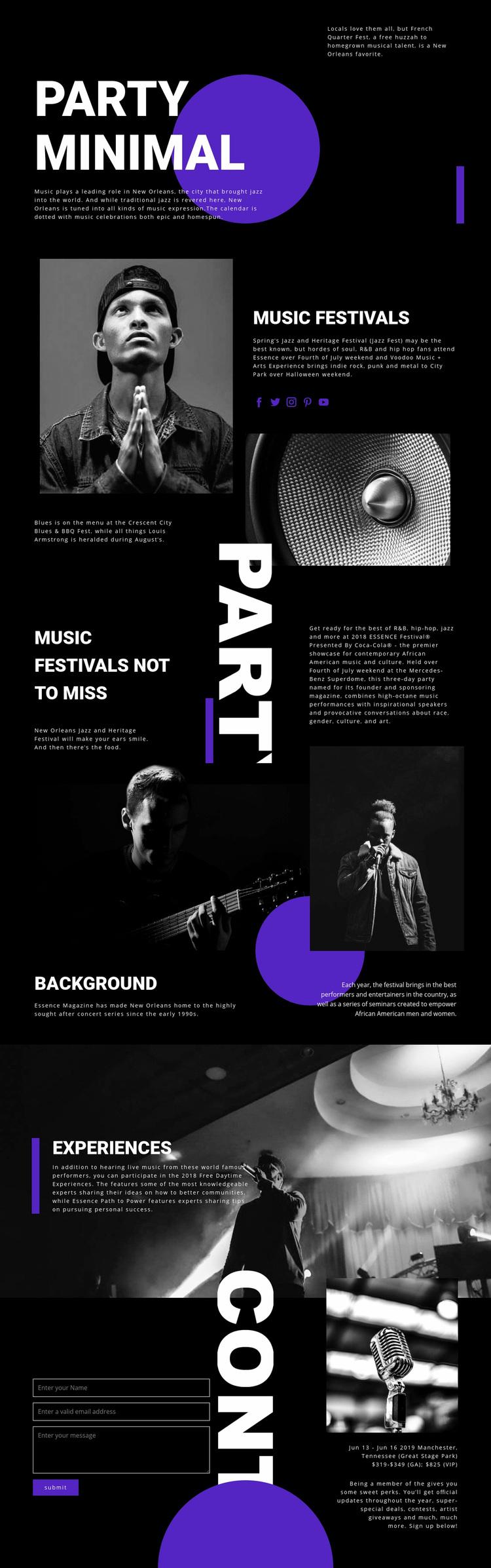 Music Festival Web Page Designer