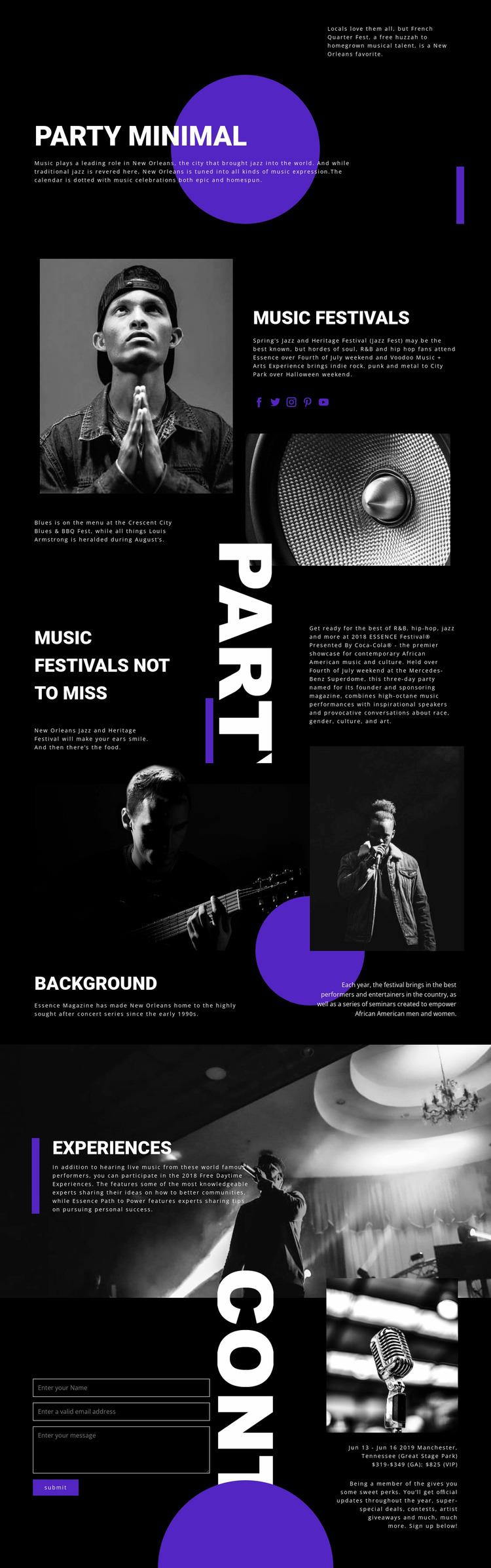 Music Festival Website Mockup
