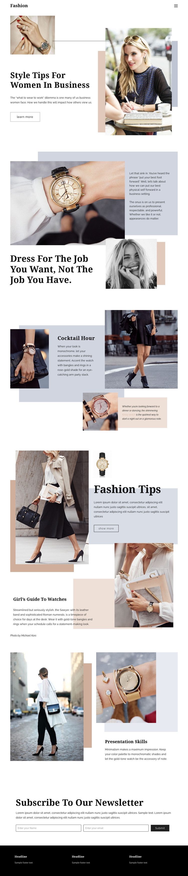 Fashion tips Homepage Design