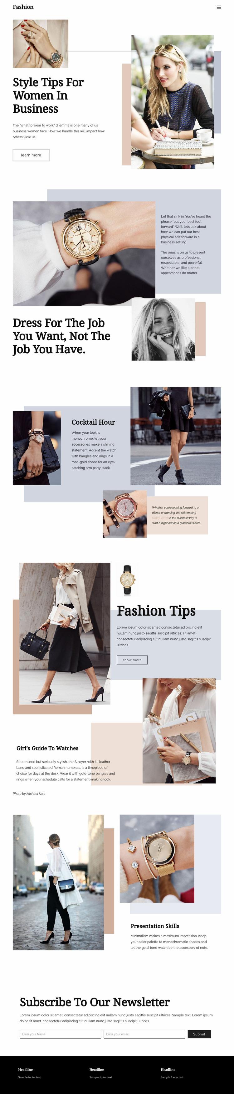 Fashion tips Web Page Design