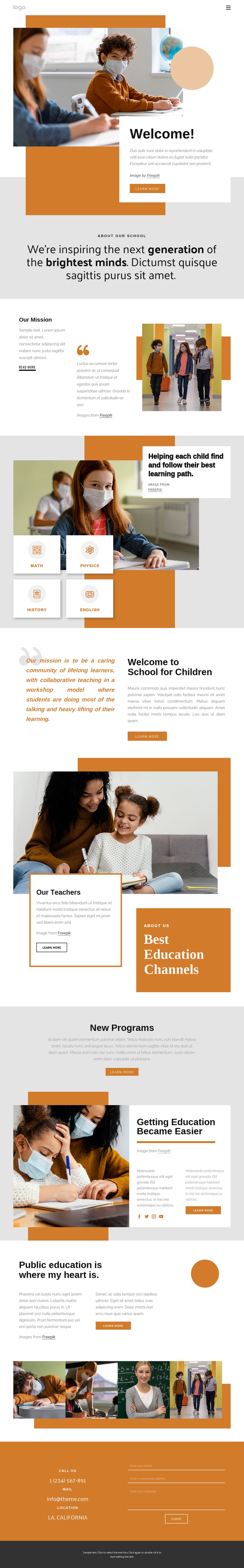 Primary school One Page Template