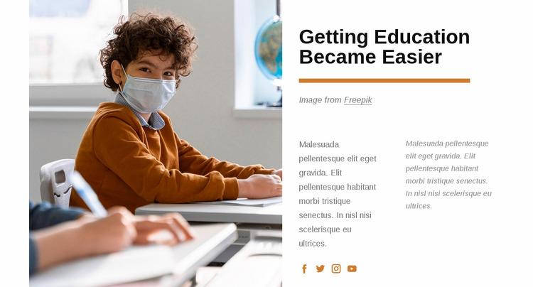 Getting education became easier Website Mockup