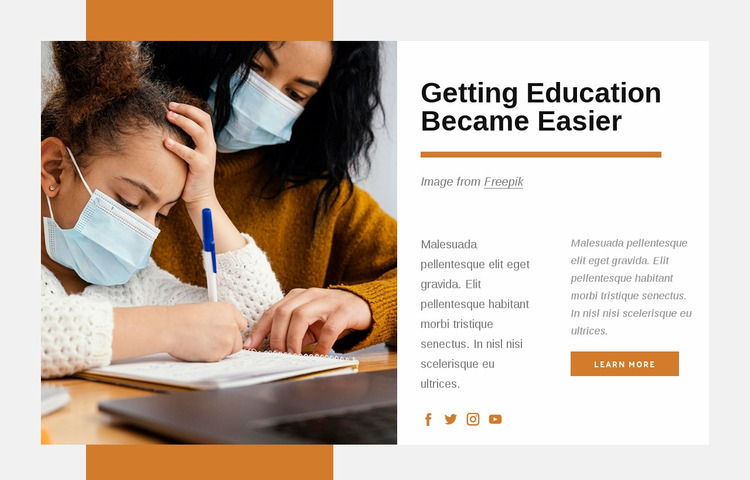 Education is the passport to the future Website Mockup