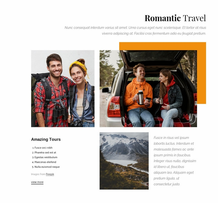 Honeymoons and romantic getaways Web Page Design