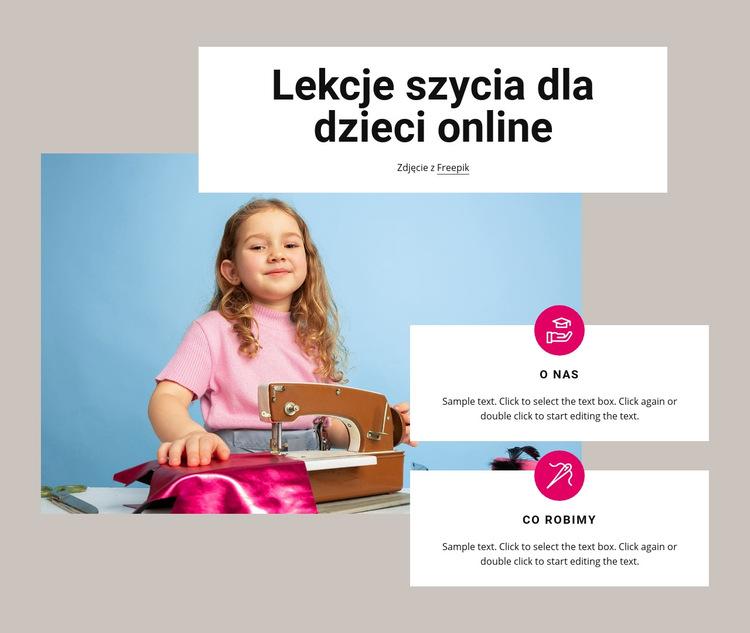 Lekcje szycia dla dzieci Szablon witryny sieci Web