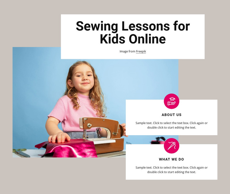 Sewing lessons for kids Web Design