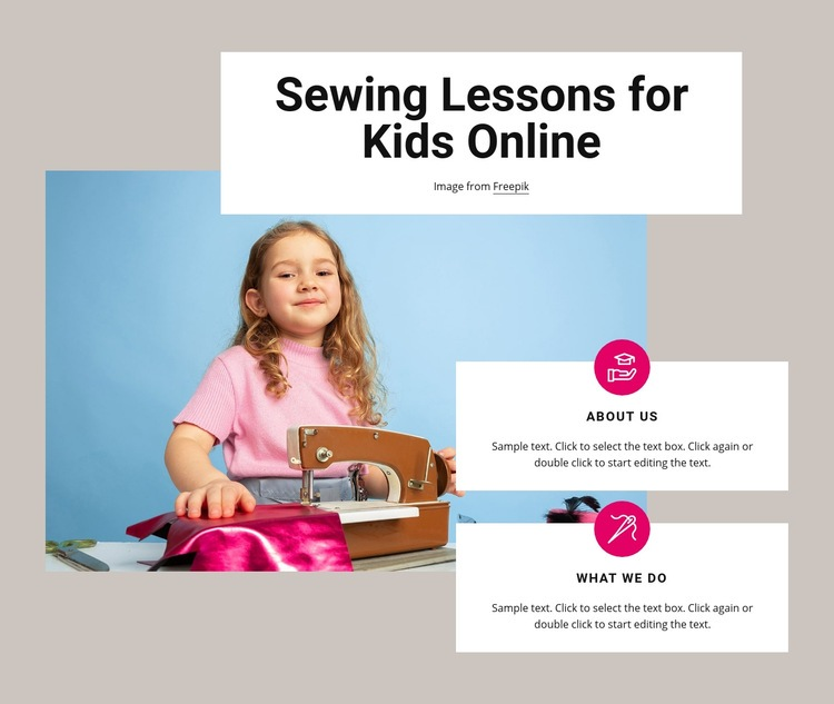 Sewing lessons for kids Web Page Design