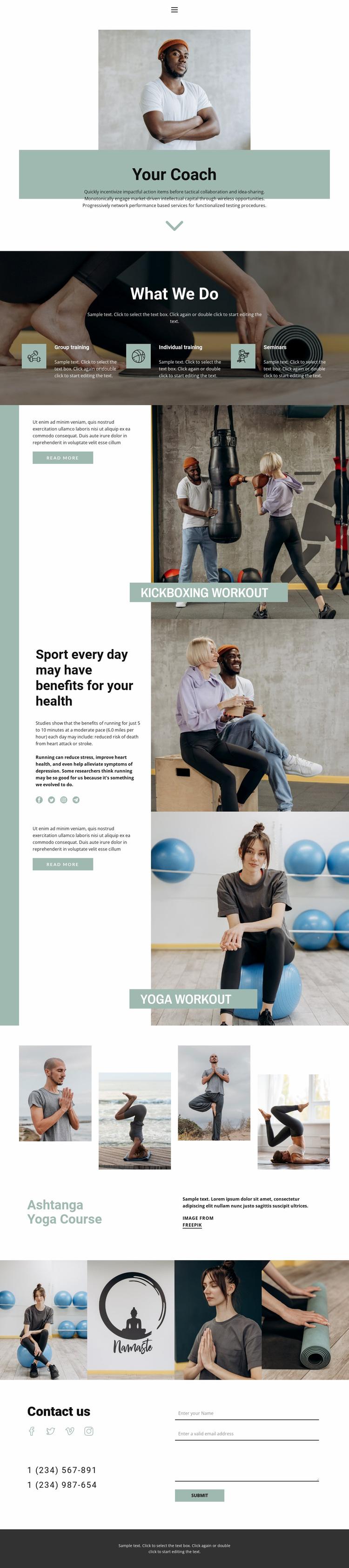 Sport sections Website Design