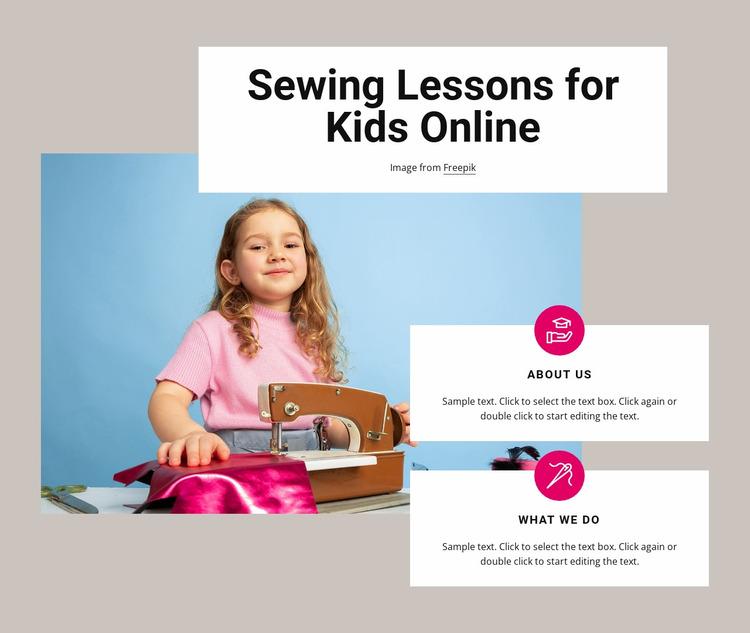Sewing lessons for kids Website Mockup