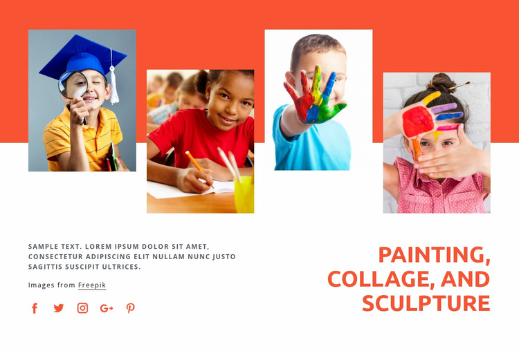 Painting, collage and sculpture Website Mockup